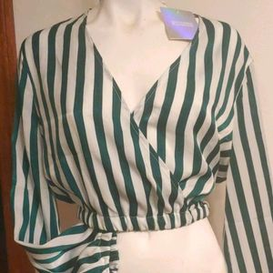 NWT Missguided stripe wrap crop top Size 12